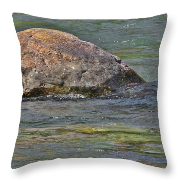 Diving Turtle Rock - Flathead River Middle Fork Mt Throw Pillow by Christine Till
