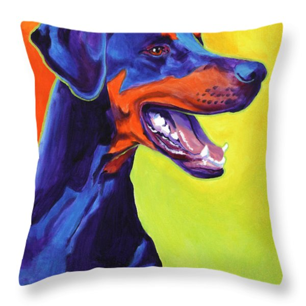Doberman - Miracle Throw Pillow by Alicia VanNoy Call