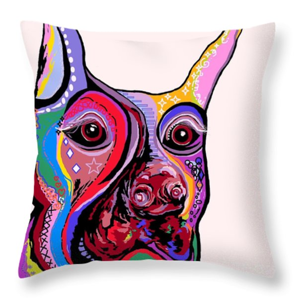 Doberman Throw Pillow by Eloise Schneider