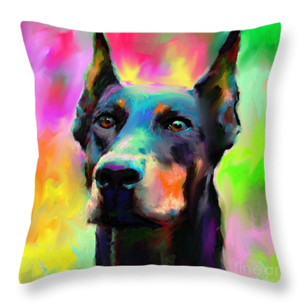 Doberman Pincher Dog portrait Throw Pillow by Svetlana Novikova