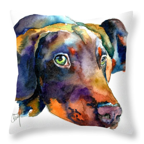 Doberman Watercolor Throw Pillow by Christy  Freeman