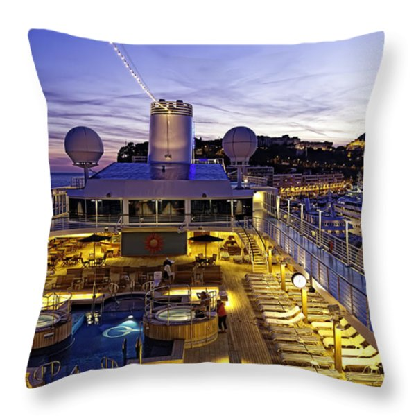 Docked In Monte Carlo Throw Pillow by Janet Fikar