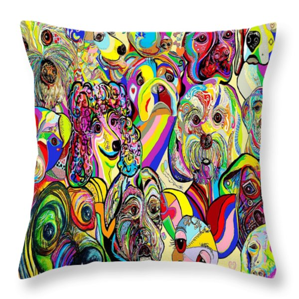Dogs ... Dogs ... DOGS Throw Pillow by Eloise Schneider