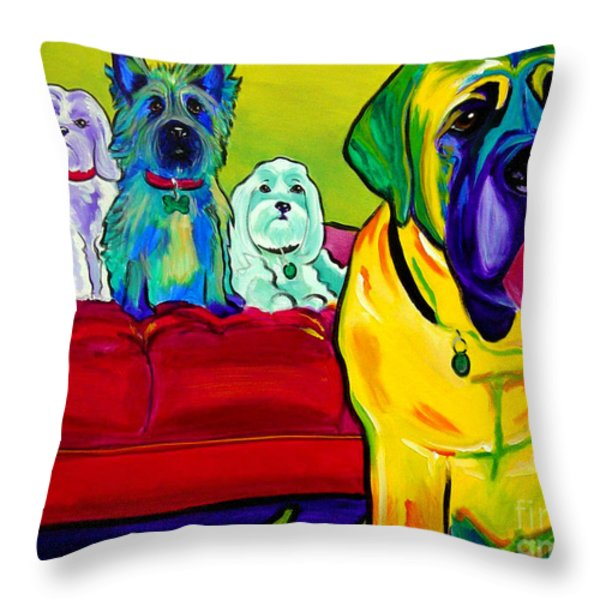 Dogs - Droolers Get The Floor Throw Pillow by Alicia VanNoy Call