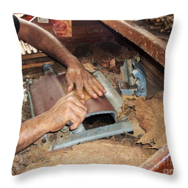 Dominican Cigars Made By Hand Throw Pillow by Heather Kirk