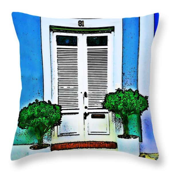 Door 61 Throw Pillow by Perry Webster