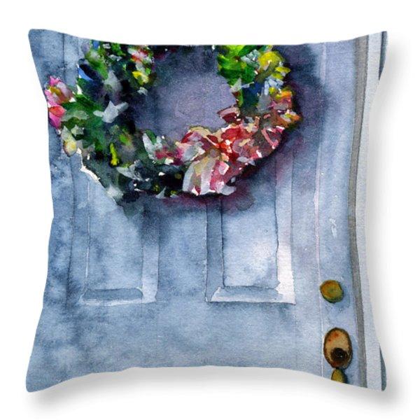 Door Wreath Throw Pillow by John D Benson