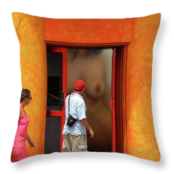 Doorway Undressing Throw Pillow by Harry Spitz