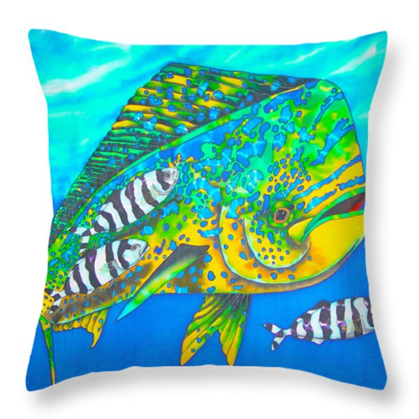Dorado and Pilot Fish Throw Pillow by Daniel Jean-Baptiste