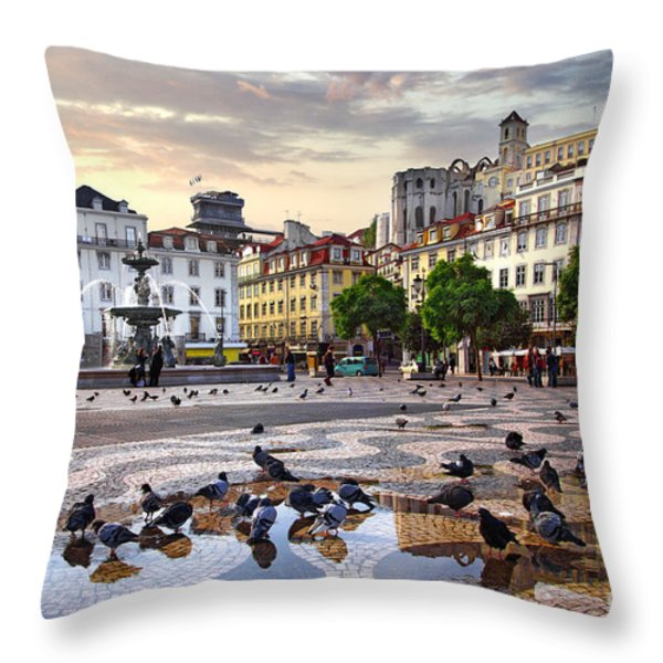 Downtown Lisbon Throw Pillow by Carlos Caetano