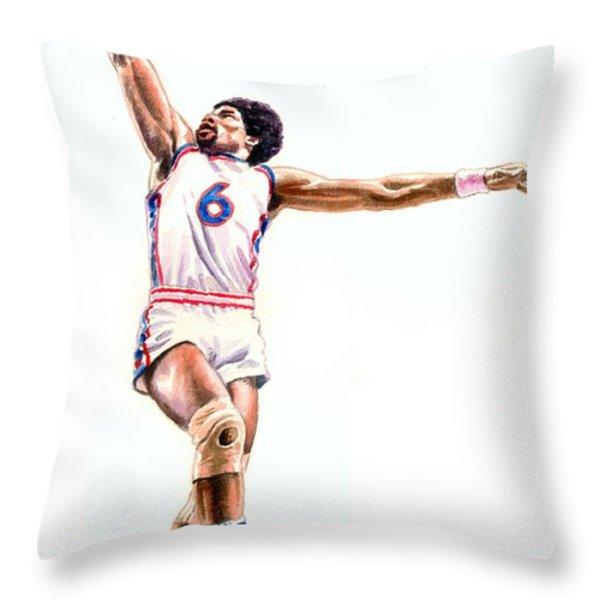 Dr J Throw Pillow by Ken Meyer jr