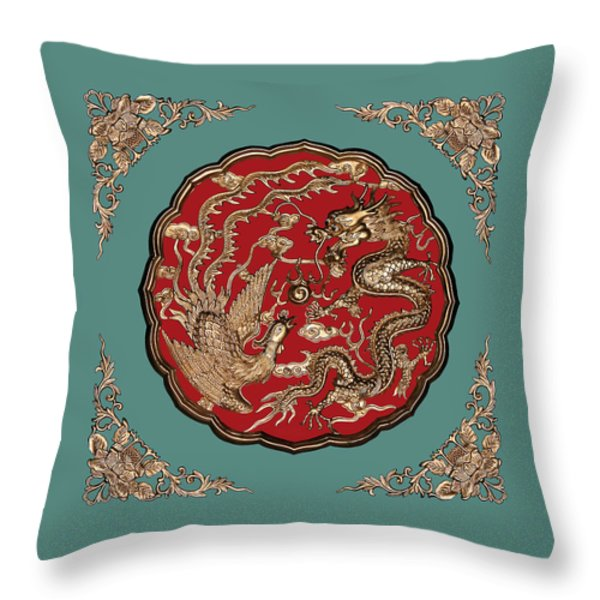 Dragon and Phoenix Throw Pillow by Kristin Elmquist