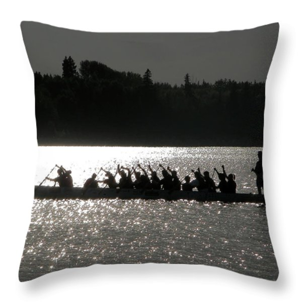 Dragon Boat Silhouette Throw Pillow by Stuart Turnbull