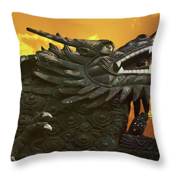 Dragon Wall - Yu Garden Shanghai Throw Pillow by Christine Till