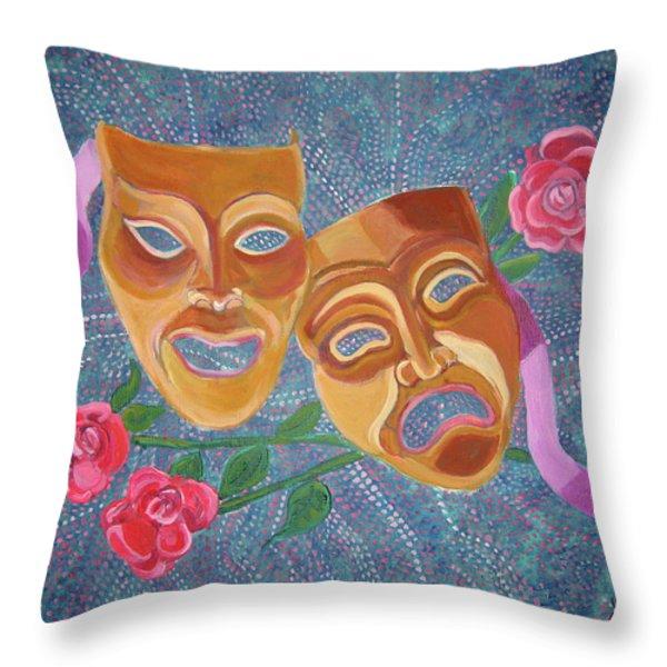 Drama Masks Throw Pillow by John Keaton