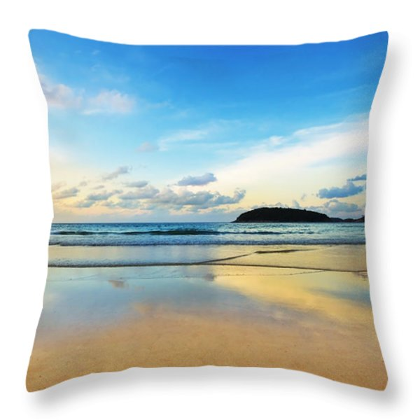 dramatic scene of sunset on the beach Throw Pillow by Setsiri Silapasuwanchai