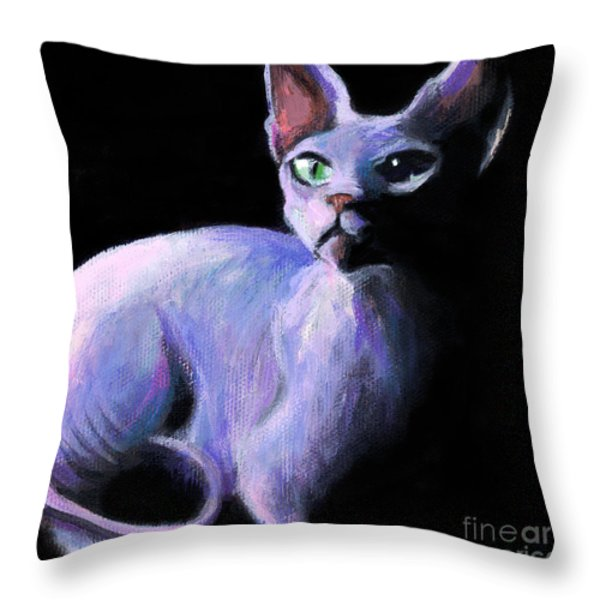 Dramatic Sphynx Cat Print Painting Throw Pillow by Svetlana Novikova