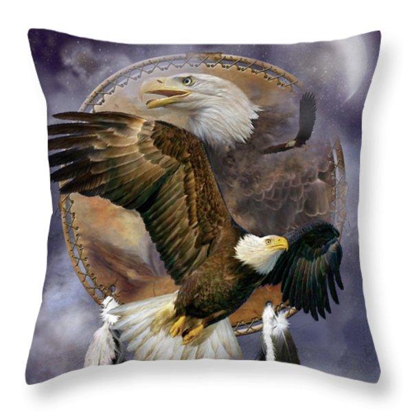 Dream Catcher - Spirit Eagle Throw Pillow by Carol Cavalaris