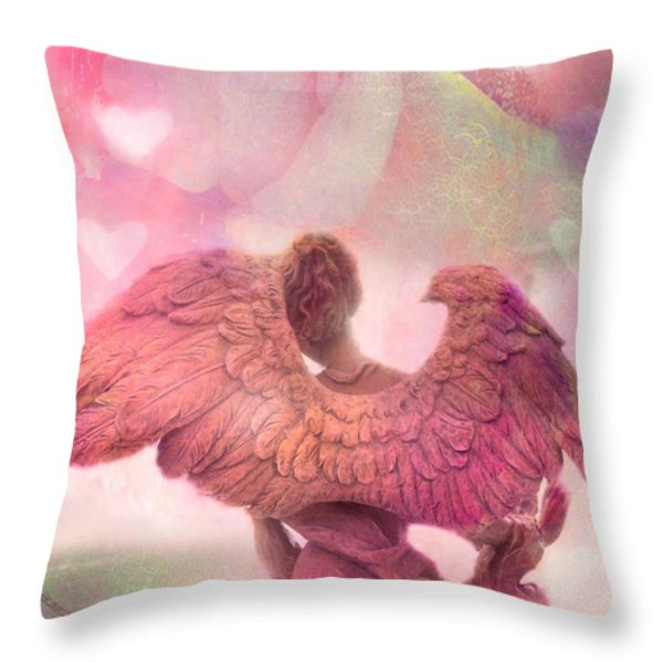 Dreamy Whimsical Pink Angel Wings With Hearts Throw Pillow by Kathy Fornal