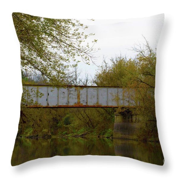 Dreary Bridge Dreary Day Throw Pillow by Alan Look