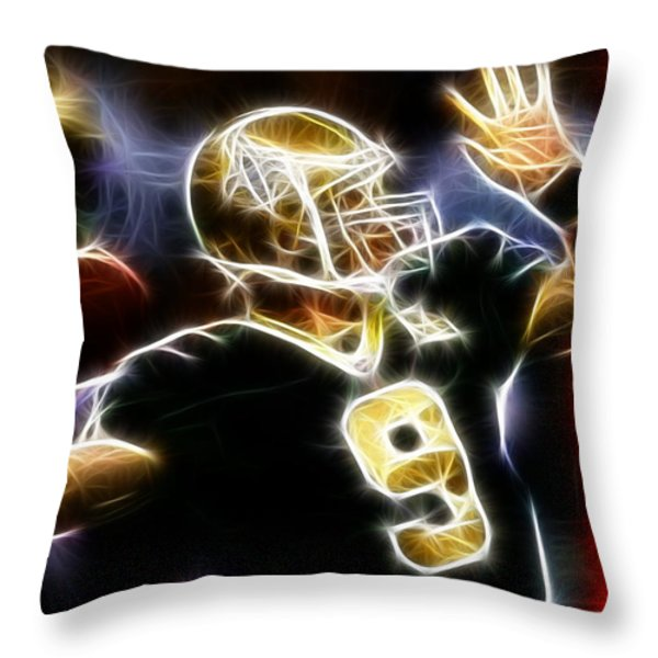 Drew Brees New Orleans Saints Throw Pillow by Paul Van Scott