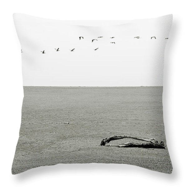 Driftwood Log and Birds - A Gray Day On The Beach Throw Pillow by Christine Till