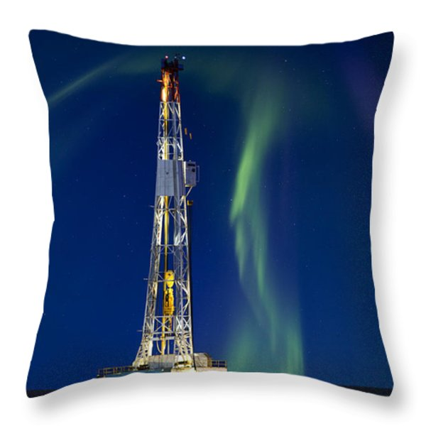 Drilling Rig Saskatchewan Throw Pillow by Mark Duffy
