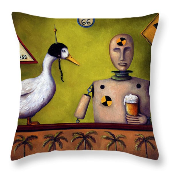 Drink Test Dummy Throw Pillow by Leah Saulnier The Painting Maniac