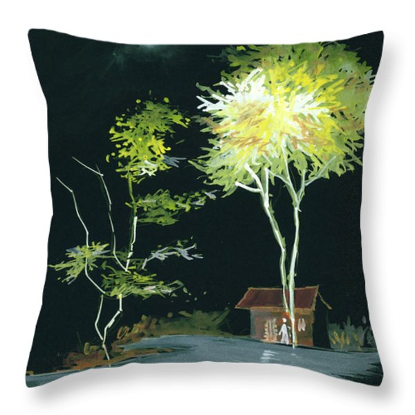Drive Inn Throw Pillow by Anil Nene