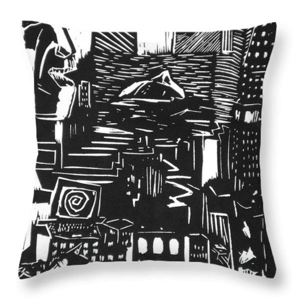 Drowning in Metropolis Throw Pillow by Darkest Artist