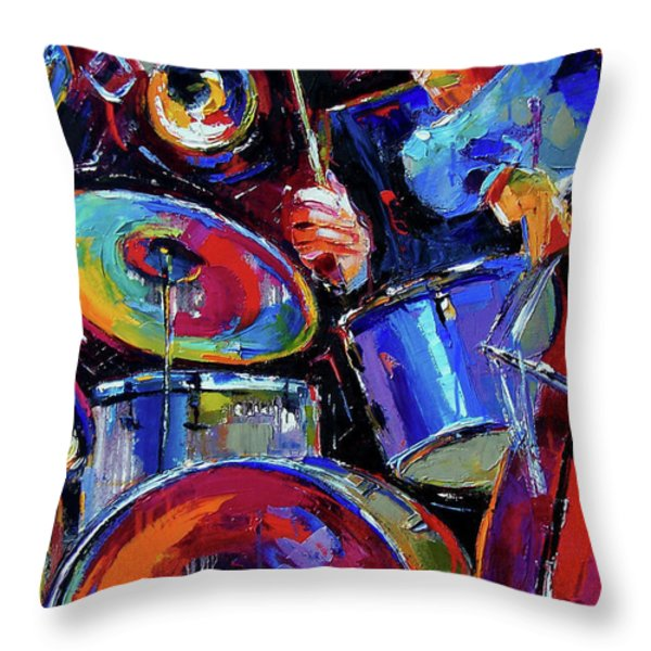 Drums And Friends Throw Pillow by Debra Hurd