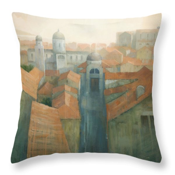 Dubrovnik Rooftops Throw Pillow by Steve Mitchell