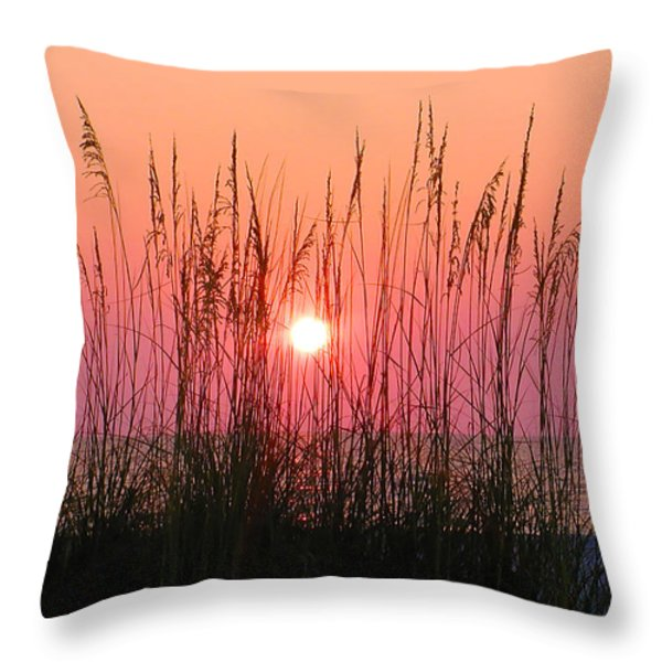 Dune Grass Sunset Throw Pillow by Bill Cannon