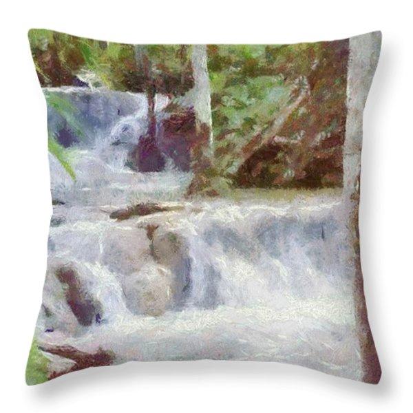 Dunn River Falls Throw Pillow by Jeff Kolker