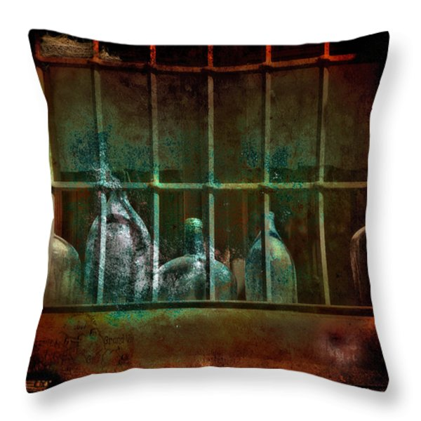 Dusty Old Bottles Throw Pillow by Mal Bray