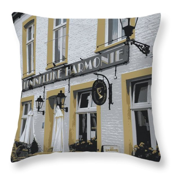 Dutch Cafe - Digital Throw Pillow by Carol Groenen