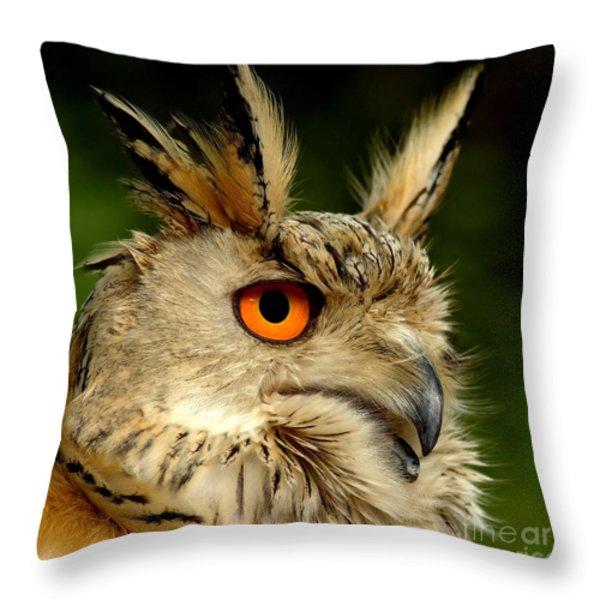 Eagle Owl Throw Pillow by Jacky Gerritsen