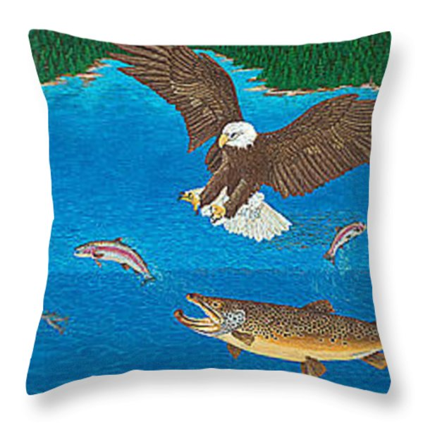 Eagle Trophy Brown Trout Rainbow Trout Art Print Blue Mountain Lake Artwork Giclee Birds Wildlife Throw Pillow by Baslee Troutman