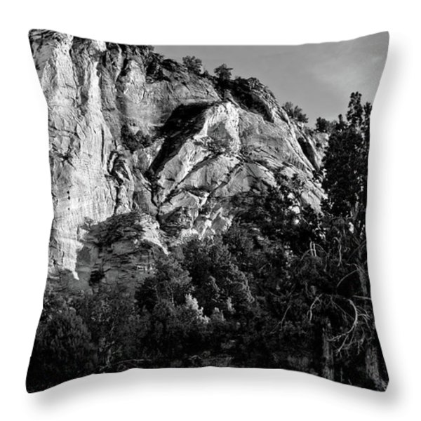 Early Morining Zion B-w Throw Pillow by Christopher Holmes
