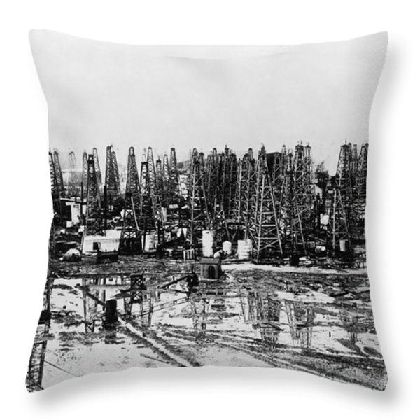 Early Oil Field Throw Pillow by Granger
