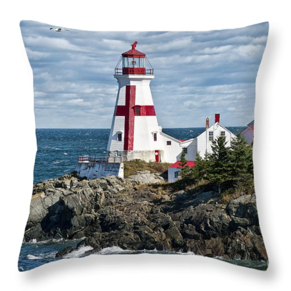 East Quoddy Lighthouse Throw Pillow by John Greim