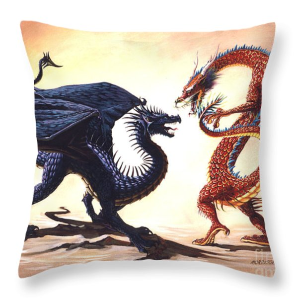 EAST VS WEST Throw Pillow by Stanley Morrison