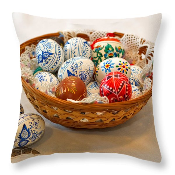 Easter Eggs Throw Pillow by Louise Heusinkveld