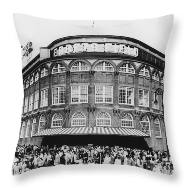 Ebbets Field, Brooklyn, Nyc Throw Pillow by Photo Researchers