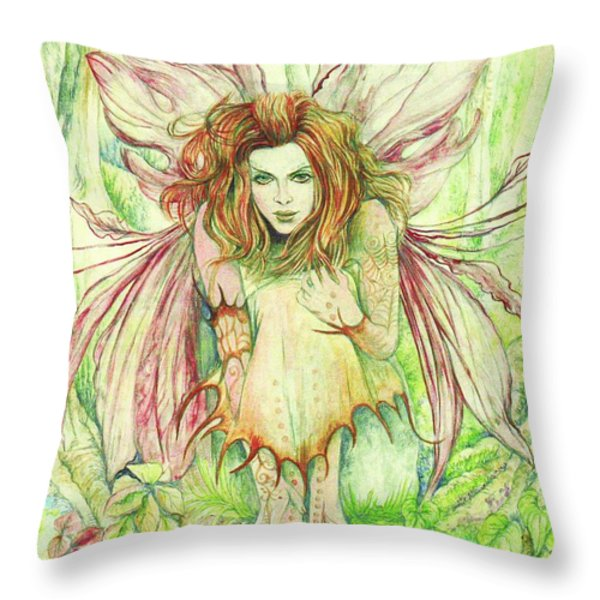 Edana The Fairy Collection Throw Pillow by Morgan Fitzsimons