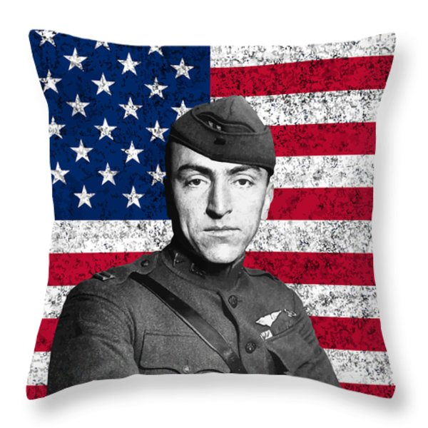 Eddie Rickenbacker and The American Flag Throw Pillow by War Is Hell Store
