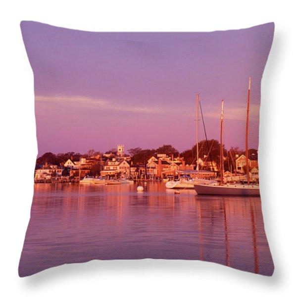 Edgartown Harbor Throw Pillow by John Burk