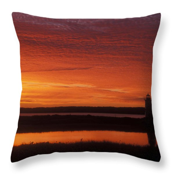 Edgartown Lighthouse Sunrise Throw Pillow by John Burk