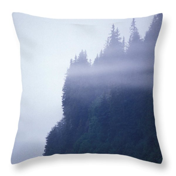 Eerie Seascape With Trees, Cliff Throw Pillow by Rich Reid