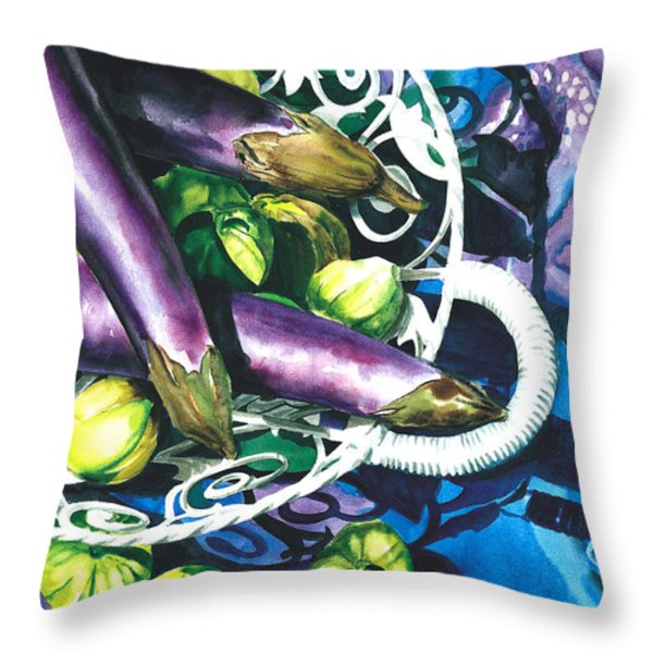Eggplants Throw Pillow by Nadi Spencer